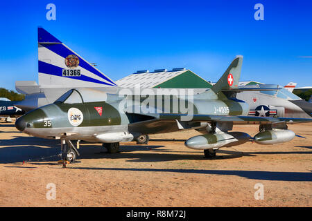 1950s Hawker Hunter British jet fighter planeon display at the Pima Air & Space Museum in Tucson, AZ - Stock Photo