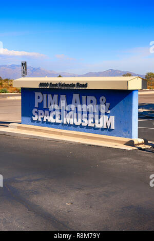 Entrance sign to the Pima Air & Space Museum in Tucson, Arizona - Stock Photo