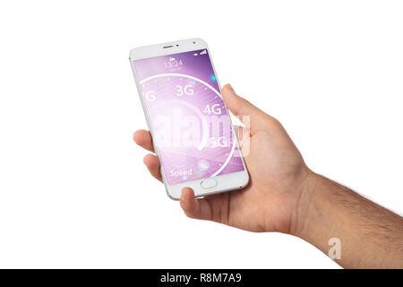 5G High speed network connection. Hand holding a smartphone isolated on white background. 5G internet speed on the screen - Stock Photo