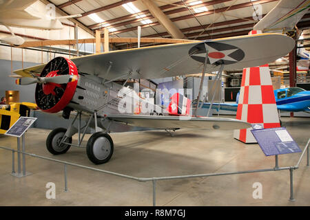 Curtiss F6C Hawk USNavy bi-plane from 1931 on display at the Pima Air & Space Museum in Tucson, AZ - Stock Photo