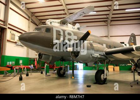A WW2 era Douglas C47 Skytrain on display at the Pima Air & Space Museum in Tucson, AZ - Stock Photo