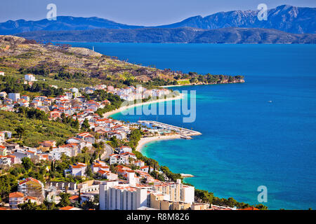 View of Tucepi waterfront in Makarska riviera, Dalmatia region of Croatia - Stock Photo