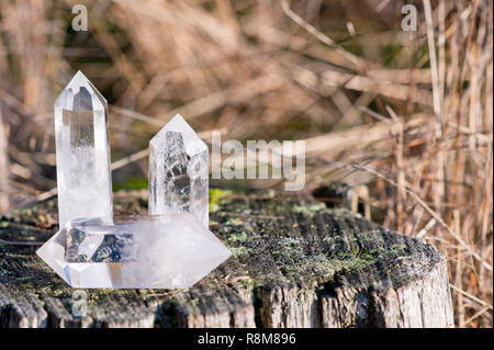 3 small clear quartz crystals laying on a tree with grass in the background - Stock Photo