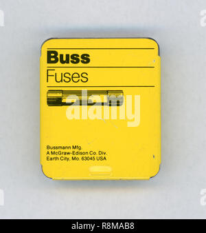 NEW YORK, USA - CIRCA NOVEMBER 2018: Box of Buss Fuses - Stock Photo