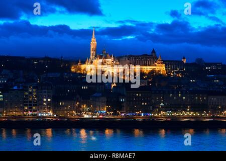 Hungary, Budapest, listed as World Heritage by UNESCO, Saint-Mathias church, Fisherman's Bastion, Castle Hill and the River Danube - Stock Photo