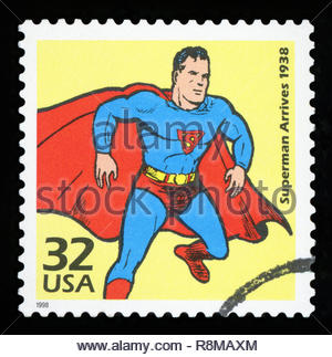 UNITED STATES OF AMERICA - CIRCA 1998: a stamp issued by USPS in 1998 shows the Superman, one of the famous cartoon figures owned by DC comics, create - Stock Photo
