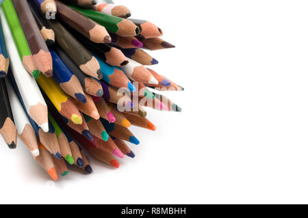 Bunch of colored pencils isolated on white background. - Stock Photo