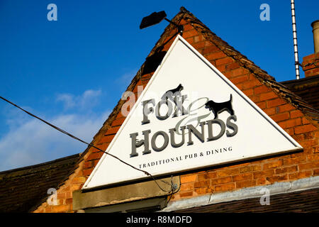 Shenstone is a small village is Staffordshire England UK Fox and Hounds Pub sign - Stock Photo