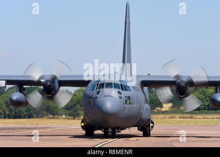 Polish Air Force Lockheed C-130E Hercules transport plane at Royal International Air Tattoo, RIAT, RAF Fairford airshow. Arriving from Poland - Stock Photo