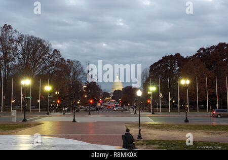 View of the US Capitol from front of Union Station in DC - Stock Photo