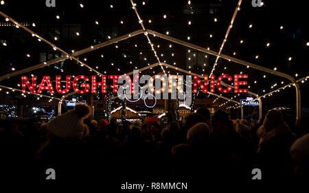 An evening stroll through the Distillery District at the Toronto Christmas Market 2018. - Stock Photo
