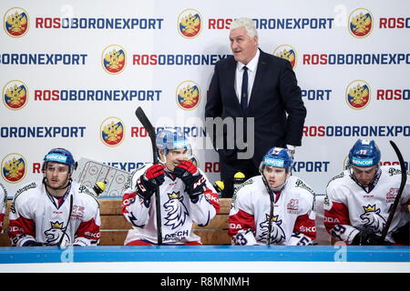 Moscow, Russia. 16th Dec, 2018. MOSCOW, RUSSIA - DECEMBER 16, 2018: The Czech Republic's head coach Milos Riha (back) in their 2018-19 Euro Hockey Tour Channel One Cup ice hockey match against Sweden at CSKA Arena. Mikhail Tereshchenko/TASS Credit: ITAR-TASS News Agency/Alamy Live News - Stock Photo