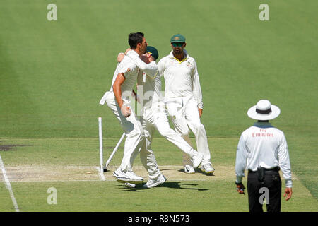 Optus Stadium, Perth, Australia. 17th Dec, 2018. International Test Series Cricket, Australia versus India, second test, day 4; Mitch Starc of Australia celebrates the wicket of KL Rahul of India in the first over of Indias second innings Credit: Action Plus Sports/Alamy Live News - Stock Photo