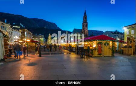 Christmas market in Bolzano, Trentino Alto Adige, Italy. - Stock Photo