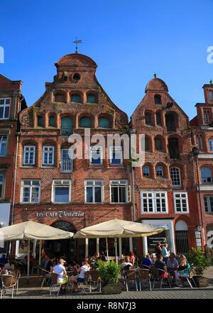 Square Am Sande, old houses,  Lüneburg, Lueneburg, Lower Saxony, Germany, Europe - Stock Photo