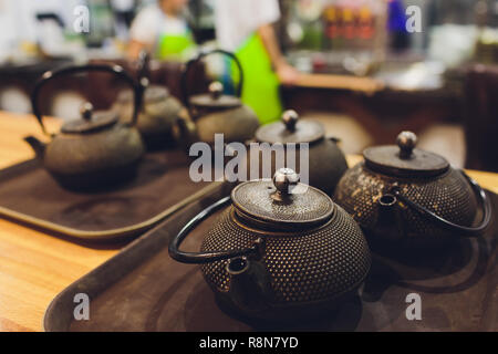 tea set Japanese chinese and oriental style on black table Top view with copy space. - Stock Photo