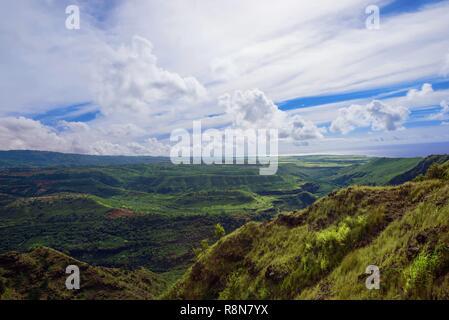 Wide angle view Waimea Canyon State Park, Kaua'i, Hawaii - Stock Photo