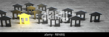 Leader village sale concept. Panoramic 3d rendering - Stock Photo