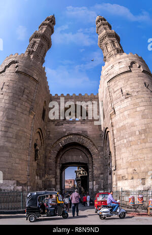 Zuweila gate in old Cairo , Bab Zuweila is one of three remaining gates in the walls of the Old City of Cairo, the capital of Egypt. It was also known - Stock Photo