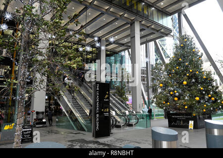 Christmas tree with bauble decorations outside the Leadenhall office building in the City of London UK  KATHY DEWITT - Stock Photo