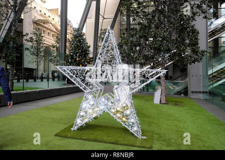 Christmas decorations outside the Leadenhall office building in the City of London UK  KATHY DEWITT - Stock Photo