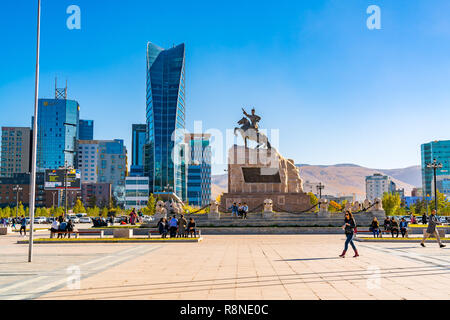 ULAANBAATAR, MONGOLIA - OCTOBER 3, 2018 : Sukhbaatar Square or Genghis Khan Square with the Statue of Mongolian revolutionary hero Sukhbaatar and the  - Stock Photo