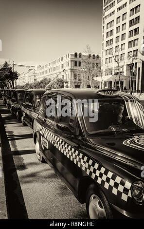 Baku/Azerbaijan - November 27, 2018. Taxi cars on street - Stock Photo