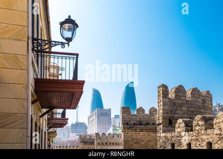 Historic center - Icheri Sheher, Baku city, Azerbaijan Republic - Stock Photo
