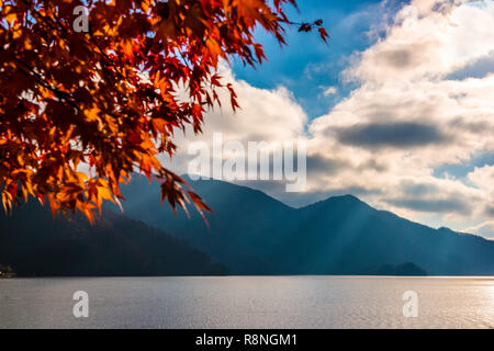 beautiful scene of lake Chuzenji (Chuzenjiko) near Nikko, Japan, autumn background - Stock Photo