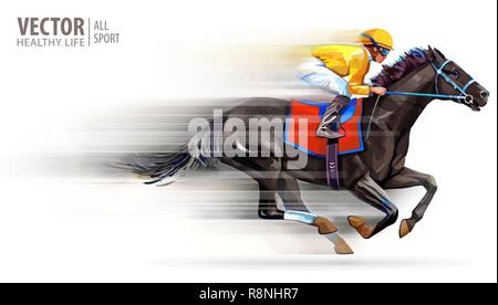 Jockey on racing horse. Champion. Hippodrome. Racetrack. Horse riding. Vector illustration. Derby. Speed. Blurred movement. Isolated on white background - Stock Photo