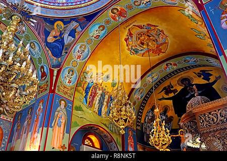 KFAR CANA, ISRAEL - SEPTEMBER 21, 2017: Interior of greek orthodox church of St. George, Kfar Cana (Kafr Kanna), Israel - Stock Photo