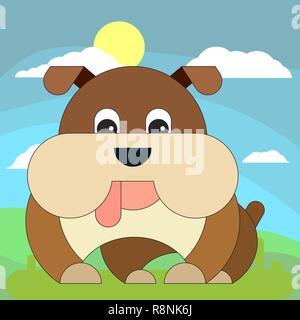 Dog in cartoon flat style on the background of meadows, sun and clouds. Vector illustration on white background. - Stock Photo