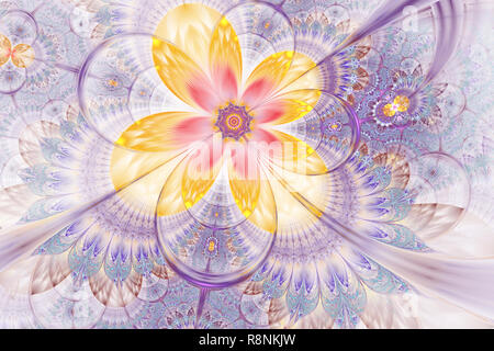 Abstract fractal floral background. Decorative glossy flower digital artwork graphic. Elegant and delicate Digitally generated Fractal pattern for art - Stock Photo