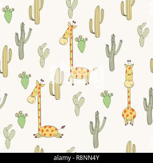 Vector hand drawn seamless pattern with cactuses and giraffes - Stock Photo
