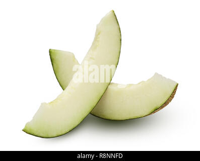 Two slices of melon isolated on white background - Stock Photo
