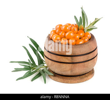 Sea buckthorn. Fresh ripe berry with leaves in a wooden bowl isolated on white background macro - Stock Photo