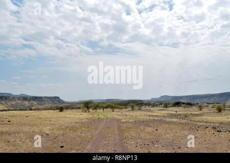 The arid landscapes of Lake Magadi, Rift Valley, Kenya - Stock Photo