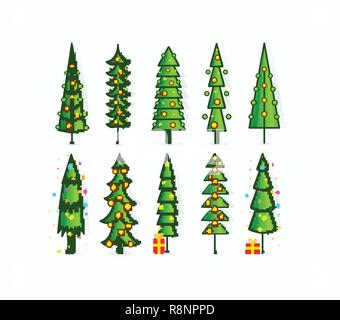 Christmas tree vector icons. Set of outline pines with garlands, gifts and decorations. Tall green trees on blank white background. Card, invitation, flyer, poster or banner design template. - Stock Photo