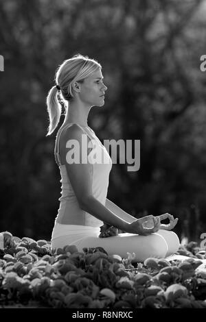 Attractive woman practices yoga at Makena, Maui, Hawaii. - Stock Photo