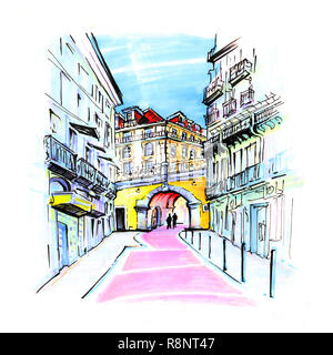 The famous Pink street of Rua Nova do Carvalho in the Cais do Sodre area of Lisbon, Portugal. Picture made markers - Stock Photo