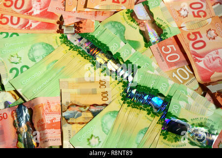 Canadian money and change. - Stock Photo