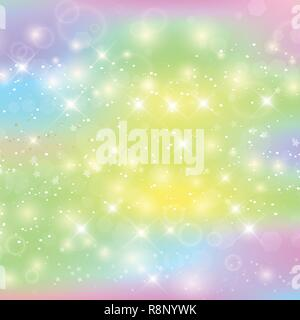 Unicorn square background with rainbow mesh. Kawaii universe banner in princess colors. Fantasy gradient backdrop with hologram. Holographic unicorn b - Stock Photo