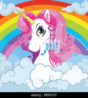 Cartoon white pony unicorn head with pink mane portrait on bright rainbow with clouds sky background. Vector illustration for t-shirt graphic, kids cl - Stock Photo