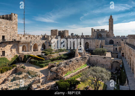 David's tower in old city of Jerusalem, Israel. - Stock Photo