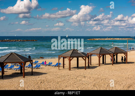 The Tel-Aviv public beach on Mediterranean sea. Israel - Stock Photo