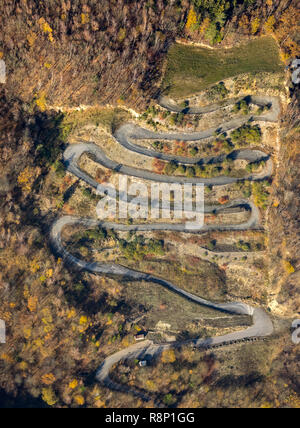 Aerial view, Gummersbach, motocross track, serpentines, winding path near the Aggertalsperre, Bergneustadt, Oberbergisches Land, North Rhine-Westphali - Stock Photo
