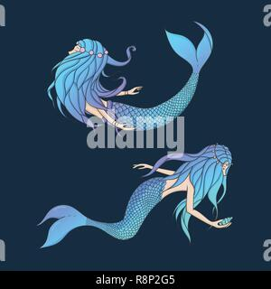 Beautiful mermaids vector set. Underwater mythical creatures isolated on the dark background. Fantasy women. - Stock Photo