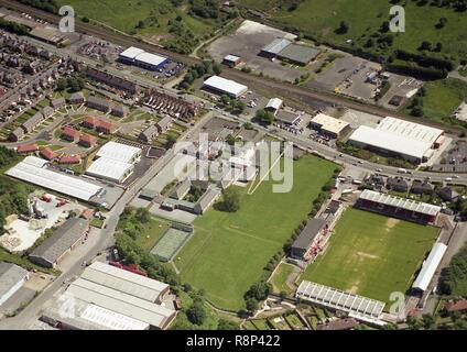 Aerial photo of the old Scarborough Football ground and Hinderwell School on Seamer Road - Stock Photo