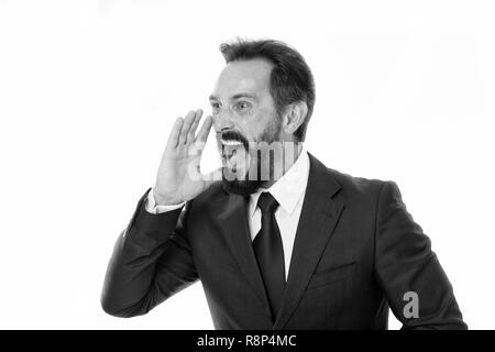 Overwhelming rumors. Businessman classic formal suit shouting loudly overwhelming news. Charismatic person achieves success easier. Businessman shouting face informing important. Do you hear me. - Stock Photo