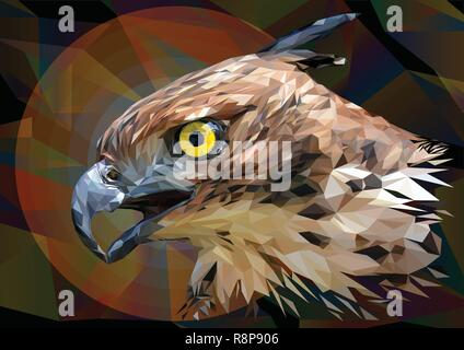 Illustration polygonal drawing  Head focus of the Changeable Hawk Eagle. - Stock Photo